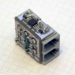 4-port hub module spread over two milled PCBs