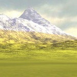 Terrain (lit and) textured using three distinct height layers